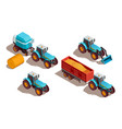 agricultural machines isometric composition vector image vector image
