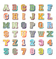 alphabets and numbers 3d icons set vector image