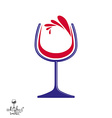 Beautiful wine goblet with splash alcohol theme vector image vector image