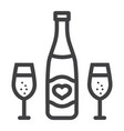 bottle of champagne with glasses line icon vector image vector image