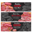 butcher shop sketch fresh meat banners vector image vector image