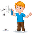 cartoon boy spraying insect killer to mosquitoes vector image vector image
