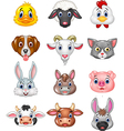 Cartoon happy animal head collection vector image