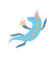 cute elasmosaurus dinosaur in party hat funny vector image vector image