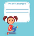 cute schoolgirl on ex-libris this book belong to vector image vector image