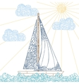 Doodle boat floating on the waves vector image vector image
