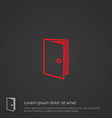 door outline symbol red on dark background logo vector image