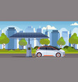 electric energy car charging at station eco vector image