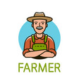 farmer in hat logo or label agriculture farm vector image vector image