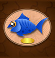 fish trophy hanging on the board vector image vector image