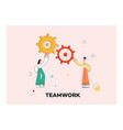 flat business man woman with gears vector image vector image