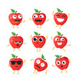funny apples - isolated cartoon emoticons vector image