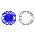 grunge stop crime exclamation scratched stamps vector image vector image