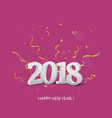 happy new year greeting card design with confetti vector image