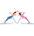 heart symbols and kissing skiers man and woman vector image vector image
