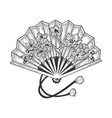 japanese hand fan sketch engraving vector image