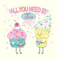 kawaii anime cute cake and icecream vector image