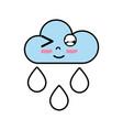 kawaii nice funny cloud raining vector image vector image