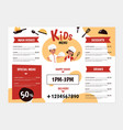 kids menu young chefs and kitchenware boys vector image vector image