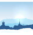 lausanne winter skyline with mountains and snow vector image vector image