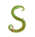 Letter S floral latin decorative character vector image vector image