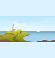 lighthouse on a promontory overlooking sea vector image