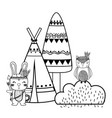 line rabbit and owl animal with camp and bush vector image vector image