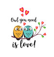 love couple owls with hearts on a tree vector image