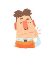 man suffering from toothache pain cartoon vector image vector image