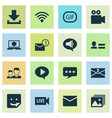media icons set with download personal data vector image vector image