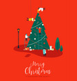 merry christmas card of people making pine tree vector image vector image