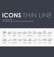 military equipment thin line icons vector image vector image