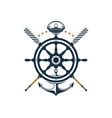 nautical badge ship wheel anchor oar captains hat vector image vector image