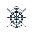 nautical badge ship wheel anchor oar captains hat vector image