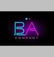 neon lights alphabet ba b a letter logo icon vector image vector image