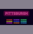 neon name of pittsburgh city vector image