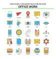 office work flat line icon set - business concept vector image