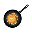 pancakes in frying pan white background vector image vector image
