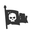 pirate flag with skull on cloth bold black vector image vector image