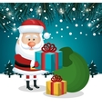 santa claus gifts and green bag design with vector image vector image