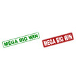 scratched mega big win rubber prints with rounded vector image vector image