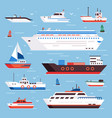 sea ships cartoon boat powerboat cruise liner vector image