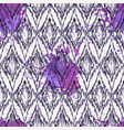 seamless ikat ethnic pattern with watercolor vector image vector image
