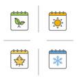 seasons calendar color icons set vector image