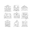 set house flat icons vector image