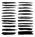 set of brush stroke black ink grunge vector image vector image