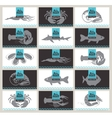 Set of business cards seafood vector image