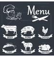 Set of meat symbols beef pork chicken lamb vector image