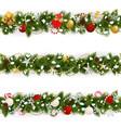 snowy christmas pine border vector image