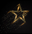 star sparkle golden frame isolated on black vector image vector image